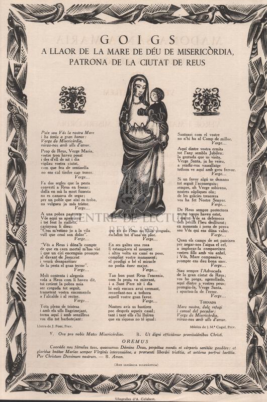 Goigs a llaor de la Mare de Déu de Misericòrdia patrona de la ciutat de Reus
