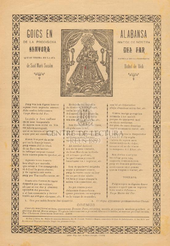 Goigs en alabansa de la prodigiosa imatge de nostra senyora del Far, que se venera en sua capella de la parròquia de Sant Martí Sacalm, Bisbat de Vich