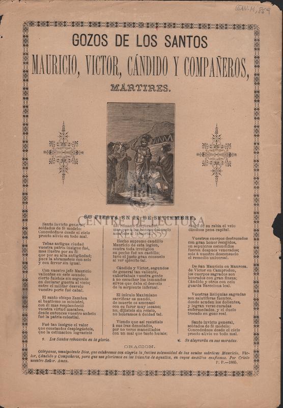 Gozos de los Santos Mauricio, Victor, Cándido y Compañeros, mártires. Su fiesta en 22 de setiembre