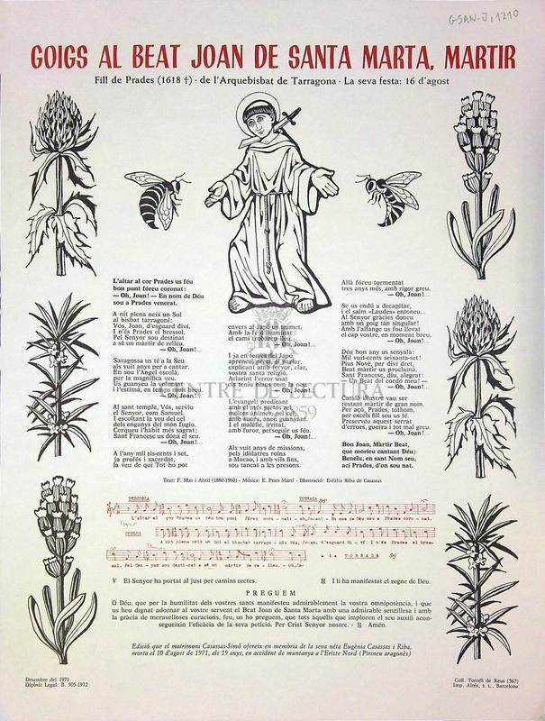 Goigs al beat Joan de Santa Marta, martir, Fill de Prades (1618), de l'Arquebisbat de Tarragona, La seva festa: 16 d'agost