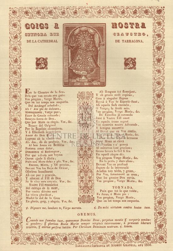 Goigs a Nostra Senyora del Claustro, de la Cathedral de Tarragona