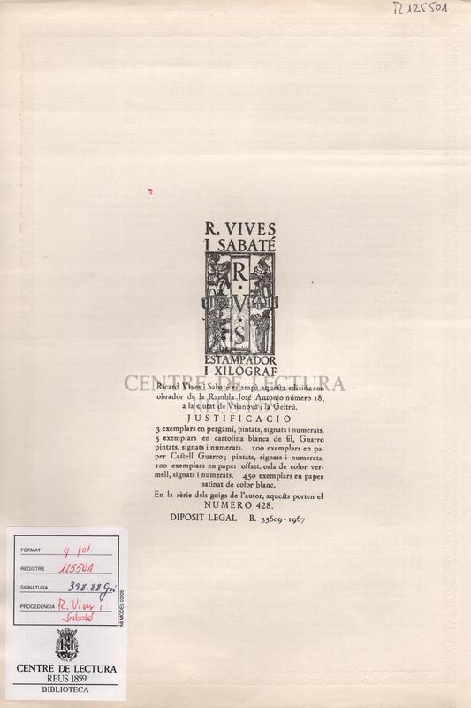 Goigs en llaor de Santa Llúcia, Verge i Martir Excelsa Patrona de la reverenda i sis vegades centenària Comunitat de Preveres de la Basílica de Santa Maria de Vilafranca del Penedès.
