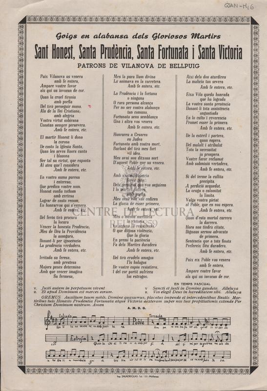 Goigs en alabansa dels Gloriosos Martirs Sant Honest, Santa Prudència, Santa Fortunata i Santa Victoria. Patrons de Vilanova de Bellpuig.