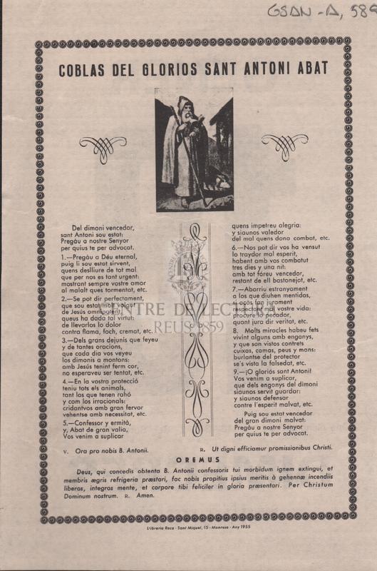 Coblas del glorios Sant Antoni Abat.