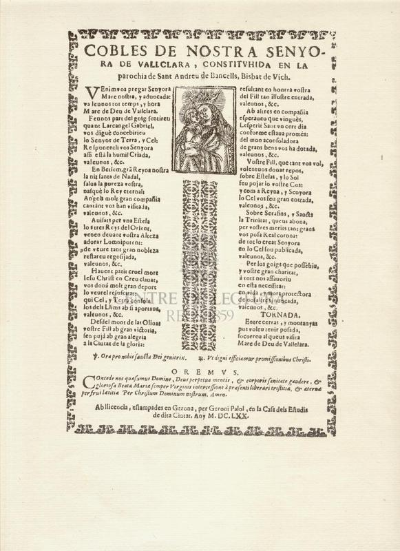 Cobles de Nostra Senyora de Vallclara, constituhida en la parochia de Sant Andreu de Bancells, Bisbat de Vich