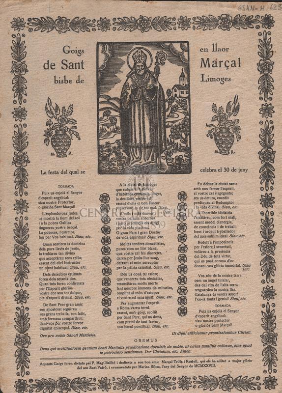 Goigs en llaor de Sant Marçal bisbe de Limoges. La festa del qual se celebra el 30 de juny