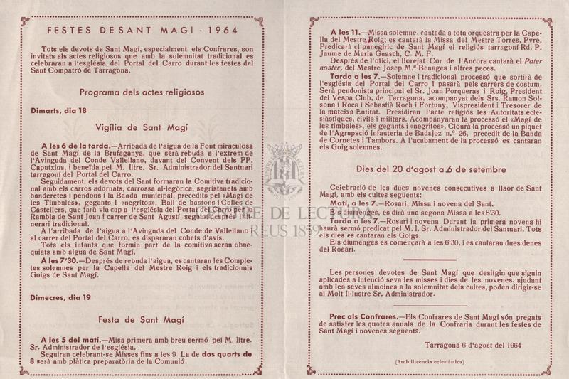 Fragments dels goigs en llahor de Sant Magí que es canten cada primer diumenge de mes, després de la missa reglamentària de la Confraria