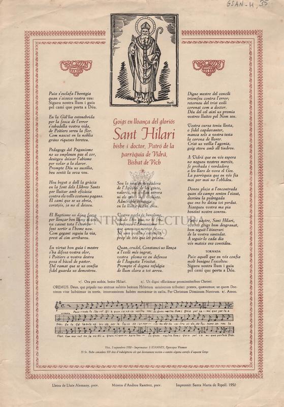 Goigs en lloança del gloriós San Hilari bisbe i doctor, Patró de la parròquia de Vidrà, Bisbat de Vich