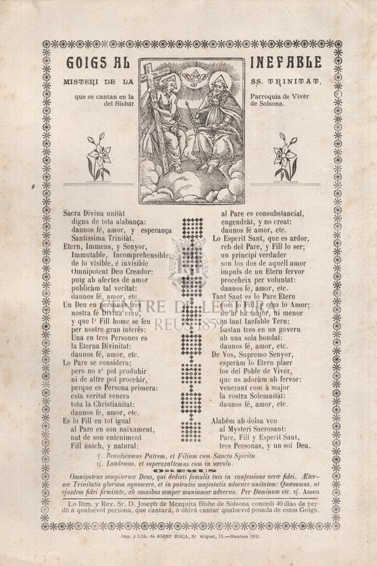 Goigs al inefable misteri de la Ss. Trinitat que se cantan en la Parroquia  de Vivèr del Bisbat de Solsona