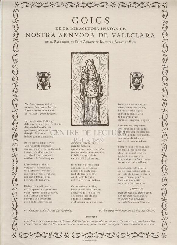 Goigs de la Senyora de Vallclara de la miraculosa imatge de Nostra Senyora de Vallclara en la Parròquia de Sant Andreu de Bansells, Bisbat de Vich
