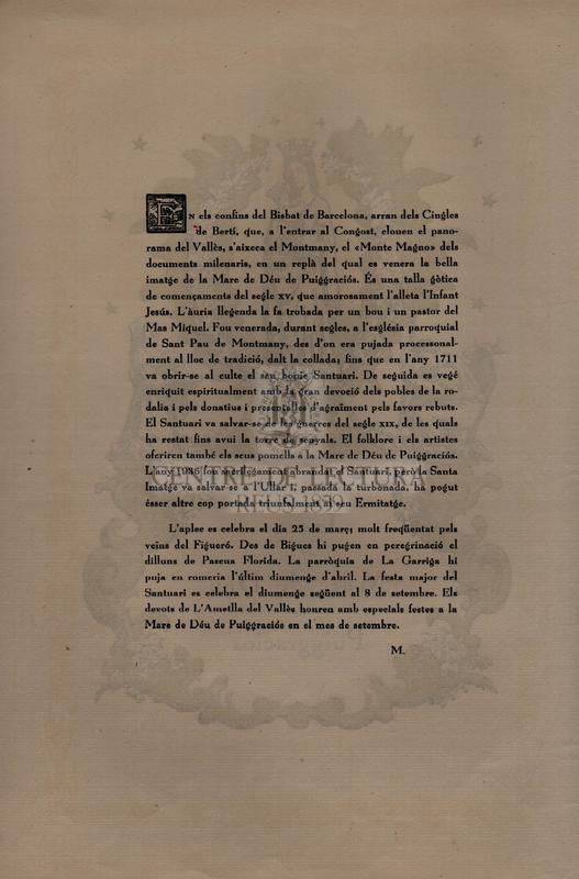 Goigs de la Mare de Déu de Puiggraciós venerada a la seva ermita del terme i parròquia de st. Pau de Montmany.