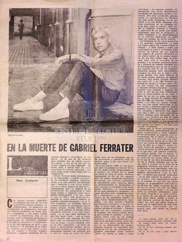 En la muerte de Gabriel Ferrater