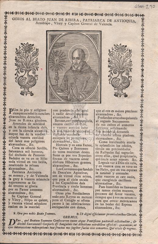 Gozos al Beato Juan Ribera, patriarca de Antioquia, Arzobispo, VIrey y capitan General de Valencia.