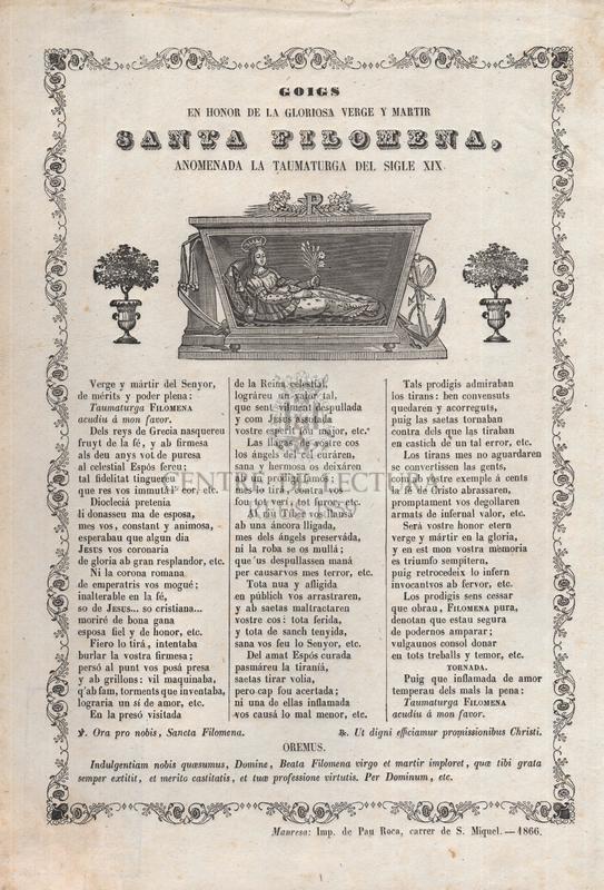 Goigs en honor de la gloriosa verge y martir Santa Filomena, anomenada la taumaturga del sigle XIX