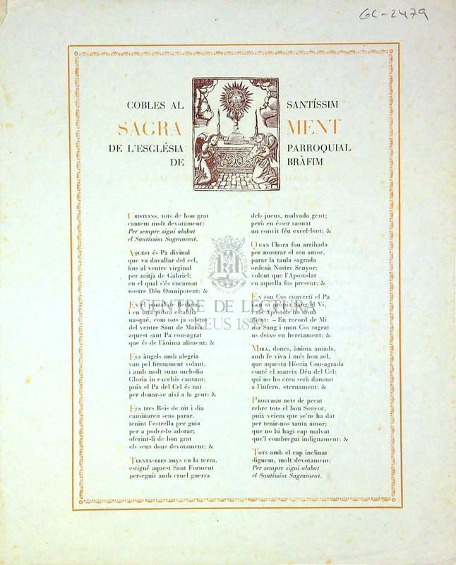 Cobles al Santíssim Sagrament de l'església parroquial de Bràfim