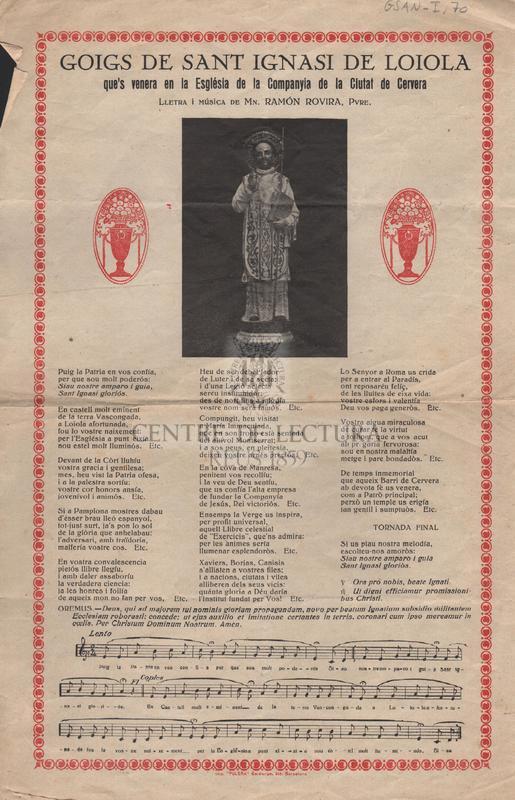 Goigs de Sant Ignasi de Loiola, que's venera en la Església de la Companyia de la Ciutat de Cervera
