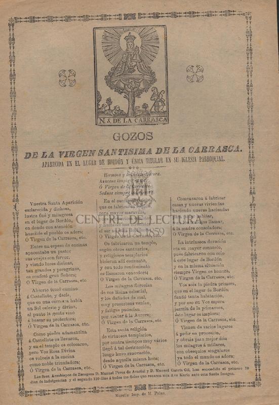 Gozos de la Virgen Santisima de la Carrasca. Aparecida en el lugar de Bordón y única titular en su iglesia parroquial.