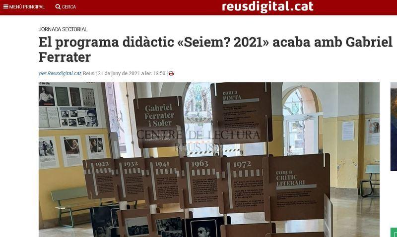 El programa didàctic «Seiem? 2021» acaba amb Gabriel Ferrater
