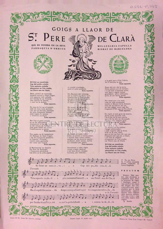 Goigs a llaor de St. Pere de Clarà que ens venera en la seva Parròquia d'Orrius mil·lenaria Capella, Bisbat de Barcelona