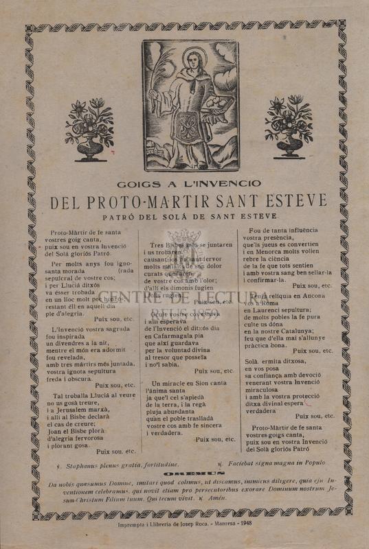 Goigs a l'invencio del proto-martir Sant Esteve, patró del Solá de Sant Esteve