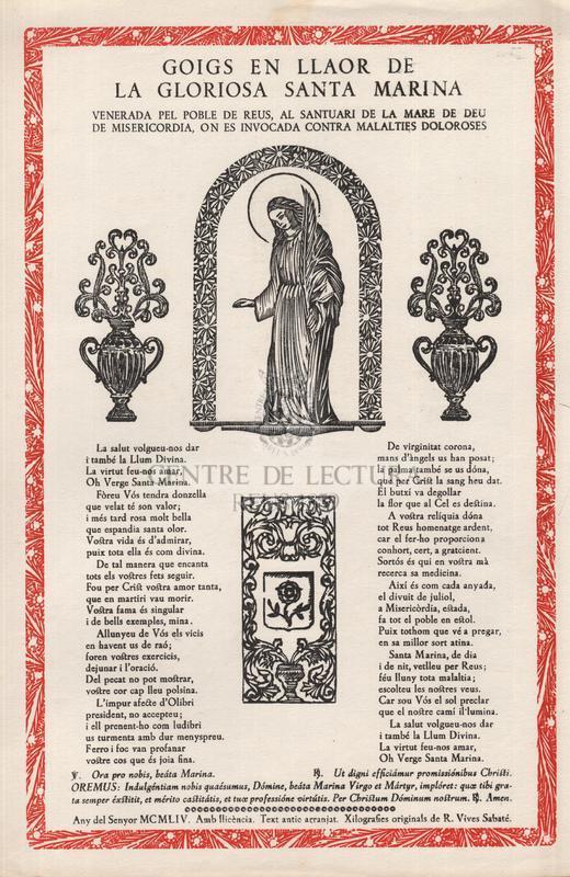 Goig en llaor de la gloriosa Santa Marina venerada pel poble de Reus, al Santuari de la Mare de Déu de Misericòrdia, on és invocada contra malalties doloroses