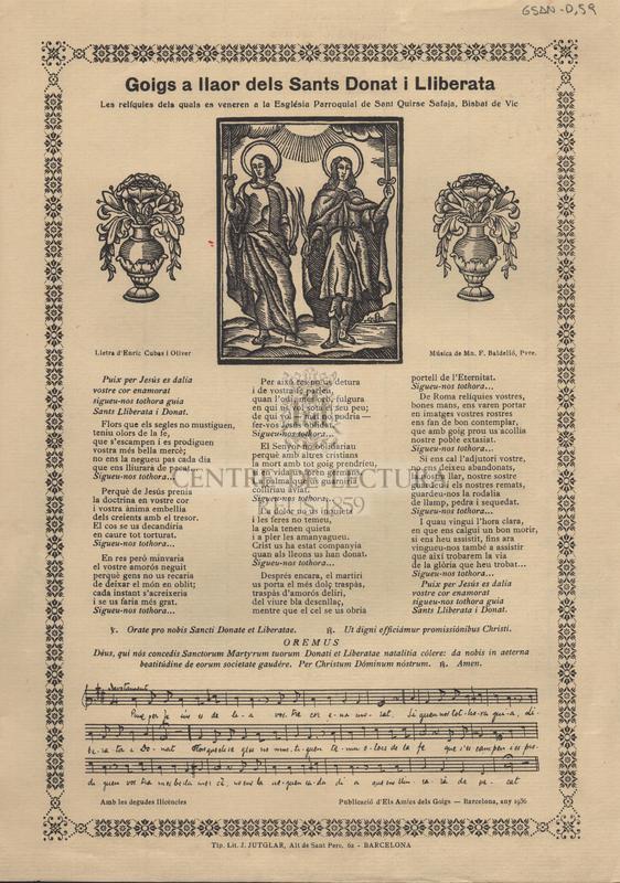 Goigs a llaor dels Sants Donat i Lliberata les relíquies dels quals es veneren a la Església Parroquial de Sant Quirse Safaja, Bisbat de Vic.
