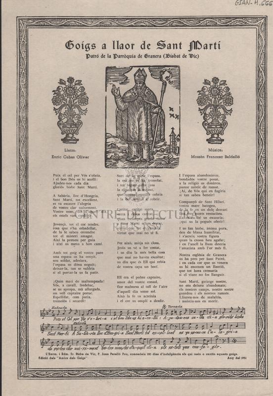 Goigs a llaor de Sant Martí. Patró de la Parròquia de Granera (Bisbat de Vic)