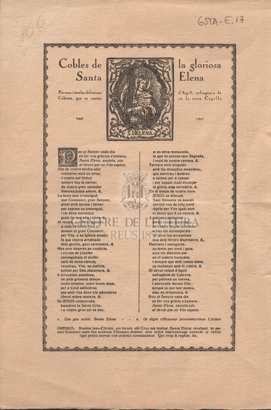 Cobles de la gloriosa Santa Elena. Patrona i tutelar del veïnat d'Agell, sufragània de Cabrera, que es canten en la seva Capella.