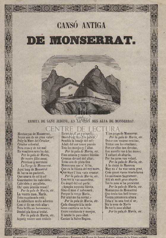 Cansó antiga de Montserrat. Ermita de Sant Jeroni, en la cima mes alta de Montserrat.