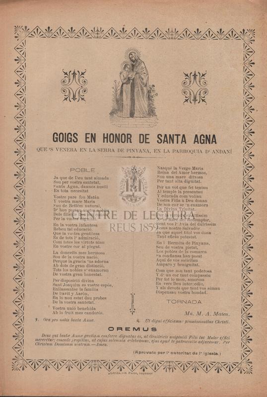 Goigs en honor de santa Agna que 's venera en la serra de Pinyana, en la parroquia d'Andaní