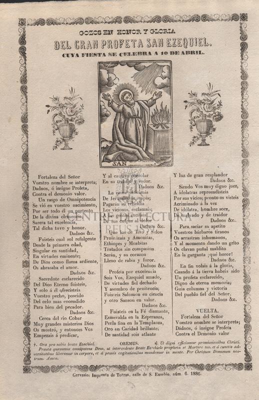 Gozos en honor y gloria del gran profeta San Ezequiel, cuya fiesta se celebra a 10 de abril