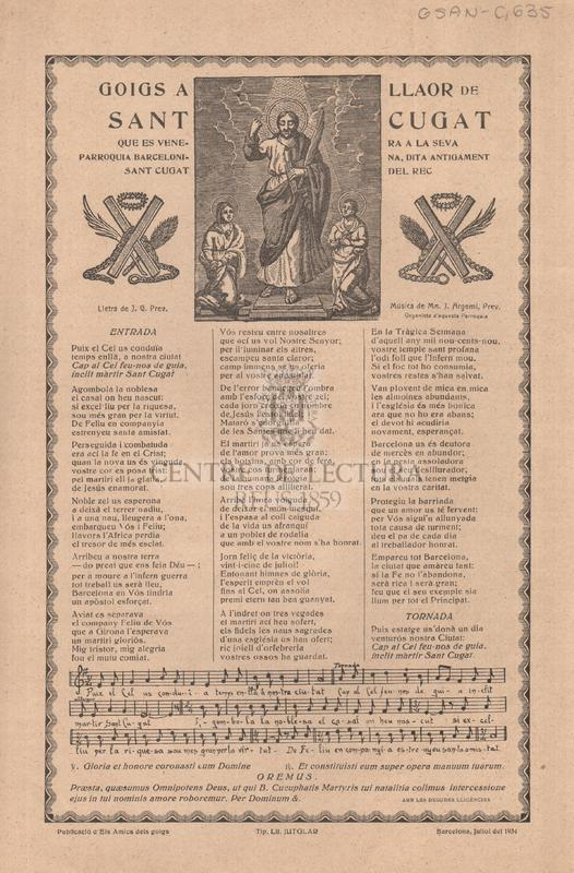 Goigs a llaor de Sant Cugat que es venera a la seva parroquia barcelonina, dita antigament Sant Cugat del Rec