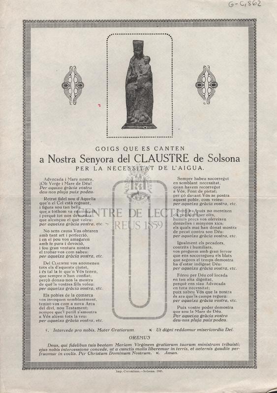 Goigs que es canten a Nostra Senyora del Claustre de Solsona per la necessitat de l'aygua