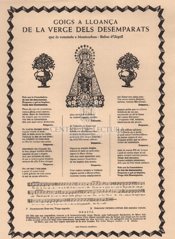 Goigs a lloança de la Verge dels Desemparats que és venerada a Montcorbau, Bisbat d'Urgell
