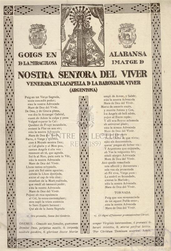 Goigs en alabansa de la miraculosa imatge de Nostra Senyora del Viver venerada en la Capella de la Baronia del Viver (Argentona)