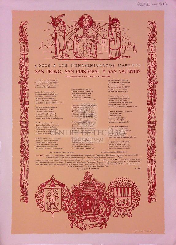 Gozos a los bienaventurados mártires San pedro, San Cristóbal y San Valentin. Patronos de la ciudad de Tarrasa