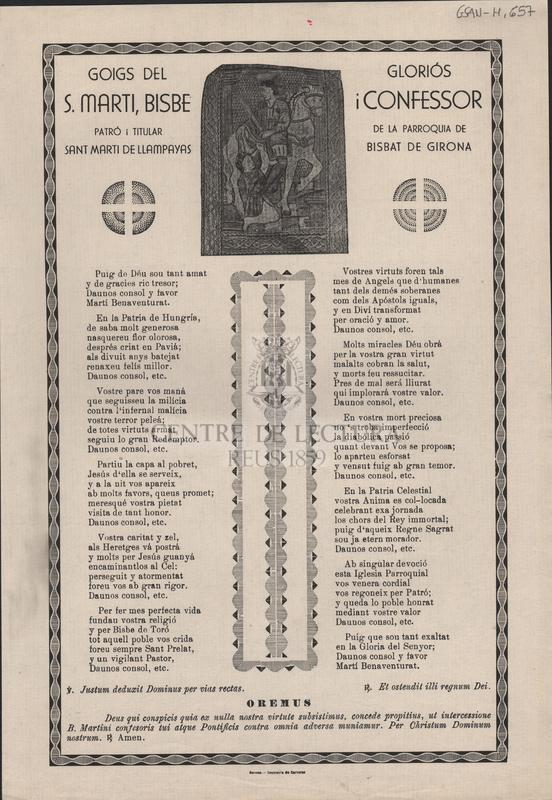 Goigs del gloriós S. Martí, Bisbe i Confessor. Patró i titular de la parroquia de Sant Martí de Llampayas, Bisbat de Girona