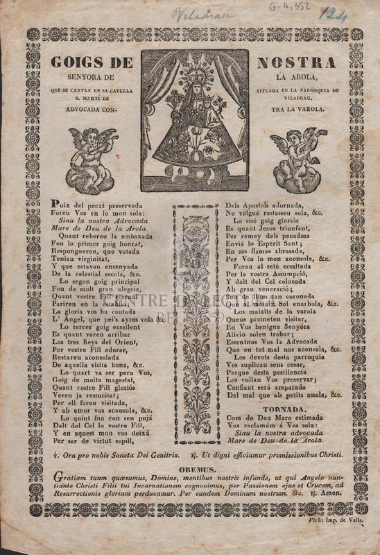 Goisg de Nostra Senyora de la Arola, que se cantan en sa capella situada en la pqrroquia de S. Martí de Viladrau. Advocada contra la verola