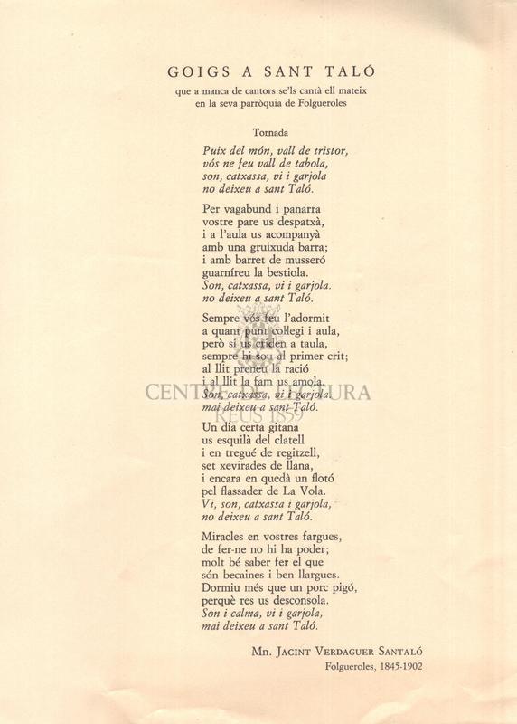 Goigs a Sant Taló que a manca de cantors se'ls cantà ell mateix en la seva parròquia de Folgueroles