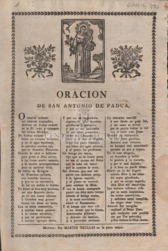 Oracion de San Antonio de Padua.