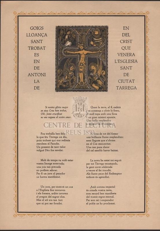 Goigs en lloança del Sant Crist trobat que es venera en l'església de Sant Antoni de la ciutat de Tárrega