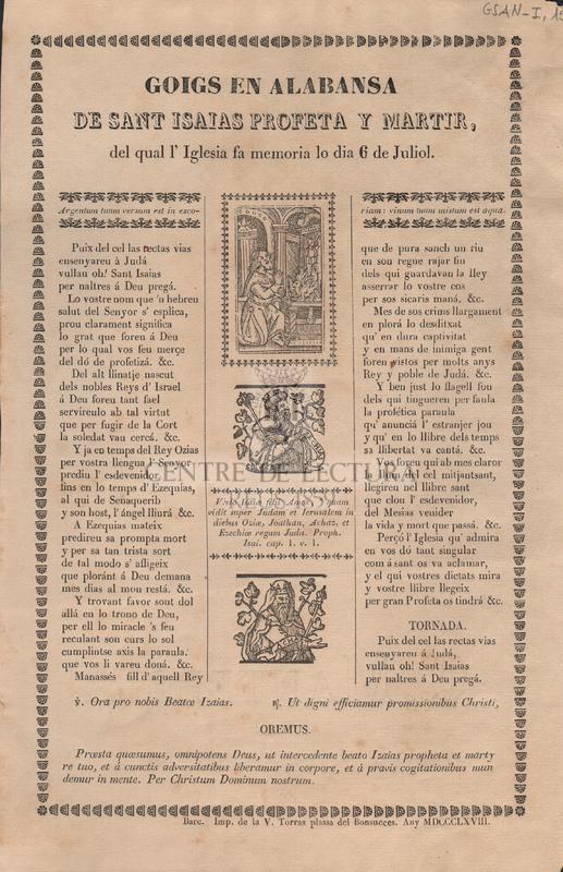 Goigs en alabansa de Sant Isaias Profeta y Martir, del qual l'Iglesia fa memoria lo dia 6 de Juliol