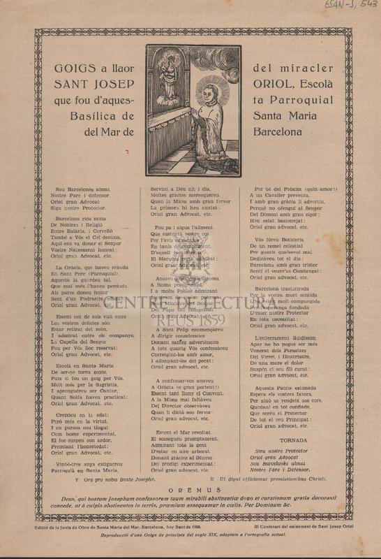 Goigs a llaor del miracler Sant Josep Oriol, Escolà que fou  d'aquesta Parroquial Basílica de Santa Maria del Mar de Barcelona