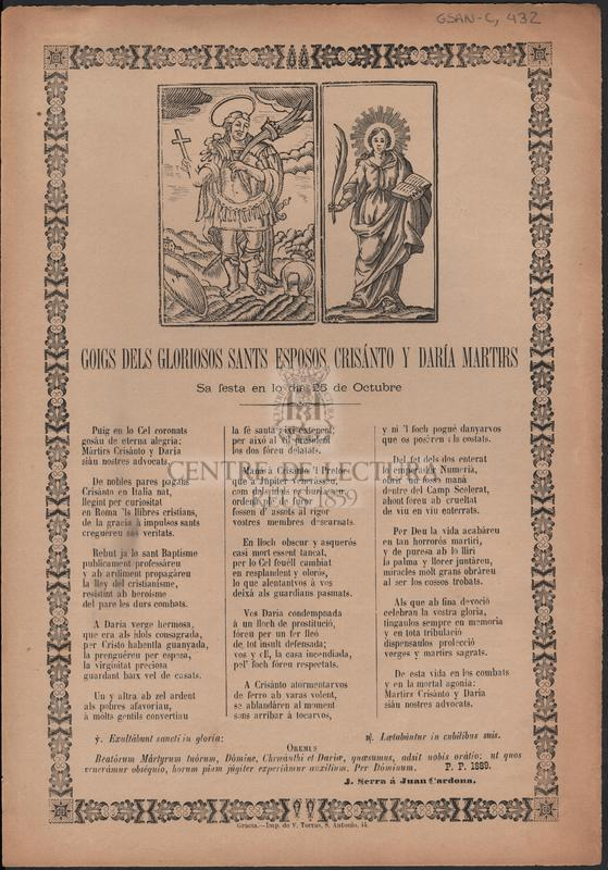 Goigs dels gloriosos Sants esposos Crisánto y Daría martirs. Sa festa en lo dia 25 de Octubre