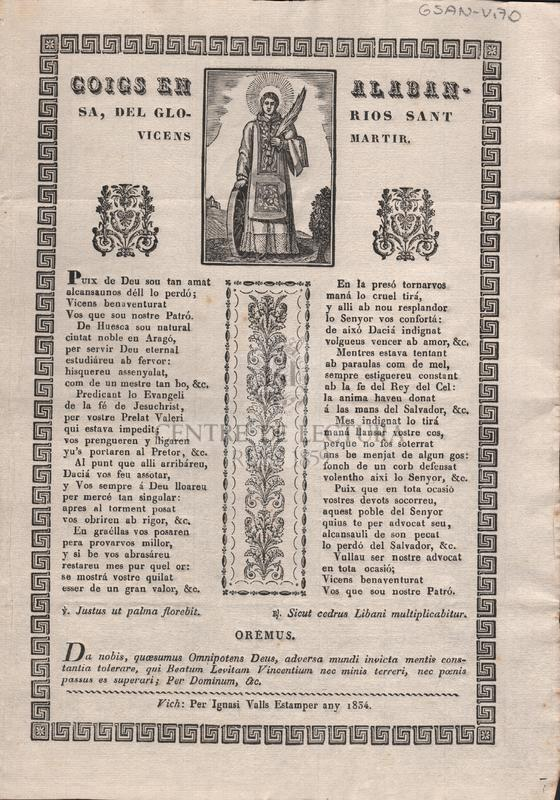 Goigs en alabansa, del glorios Sant Vicens Martir