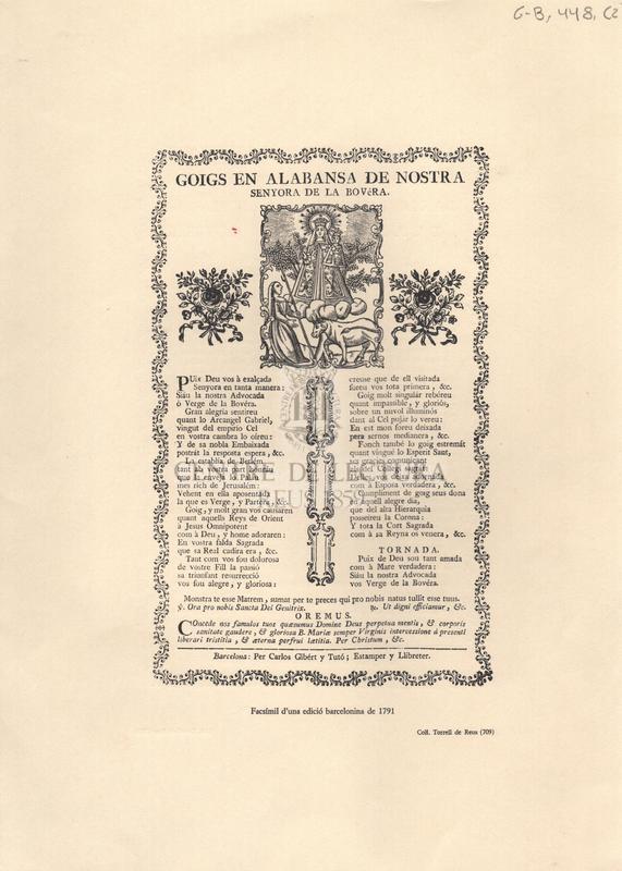 Goigs en alabansa de Nostra Senyora de la Bovéra