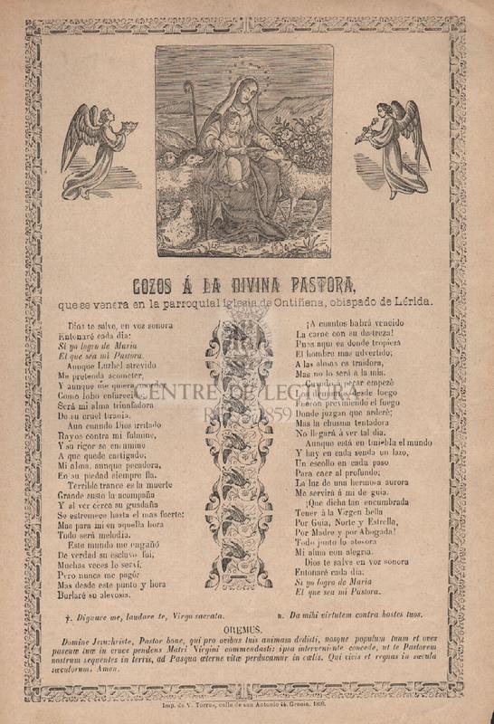 Gozos á la Divina Pastora, que se venera en la parroquial iglesia de Ontiñena, obispado de Lérida
