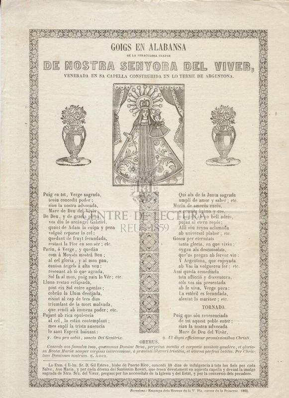Goigs en alabansa de la miraculosa imatge de Nostra Senyora del Viver, venerada en sa Capella Construhida en lo terme de Argentona