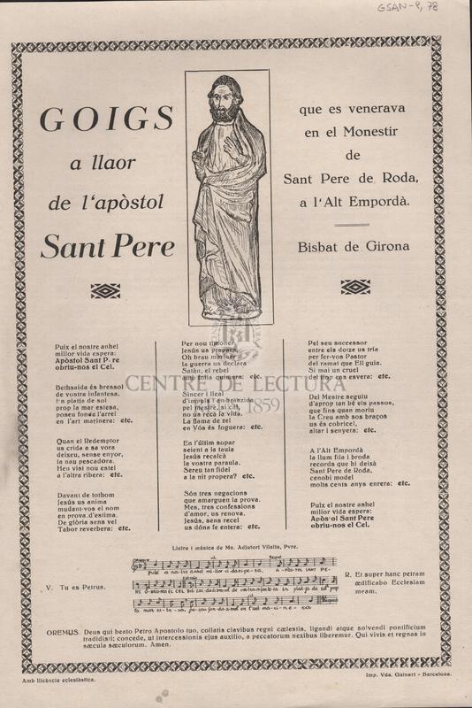 Goigs a llaor de l'apòstol Sant Pere que es venera en el Monestir de Sant Pere de Roda, a l'Alt Empordà. Bisbat de Girona.
