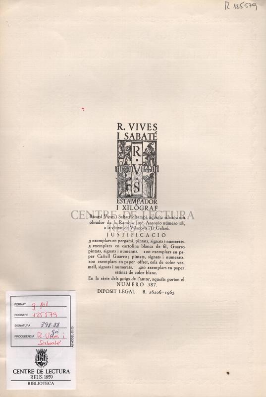 Goigs en lloança de la Mare de Deu de Montserrat venerada a l'esglesia parroquial de Riells del Fai.